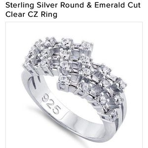 Sterling silver round and emerald cut CZ ring